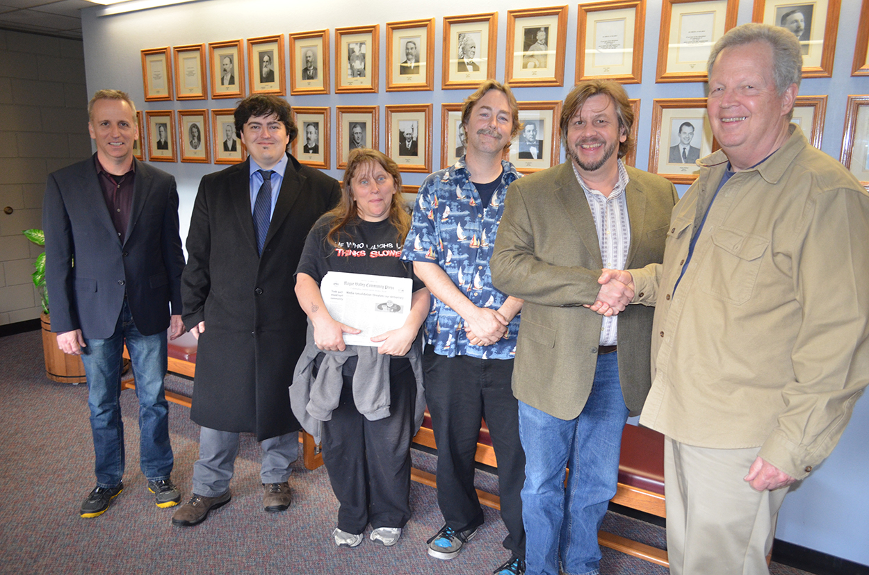 Erik Palmer of the Southern Oregon Digital Media Center, Charles Douglas of Rogue Valley Community Television and our partners from Rogue Valley Community Press and KSKQ community radio accepted the City of Ashland Oregon's proclamation for the 9th annual Independent Media Week from Mayor John Stromberg on Tuesday.